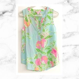 Lilly Pulitzer Pool Blue Pink Lemonade Silk Top